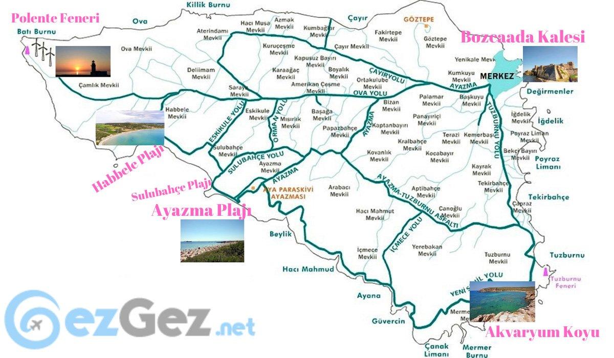Bozcaada, Bozcaada gezi haritası, Bozcaada gezi turu, Bozcaada tur haritası